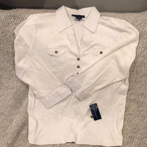 Women's Karen Scott white shirt, size L, NWT